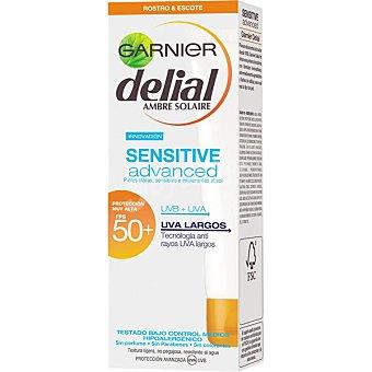 Delial Garnier Advanced crema solar facial para rostro y escote FP-50+ resistente al agua tubo 50 ml para piel clara sensible e intolerantes al sol Sensitive Tubo 50 ml