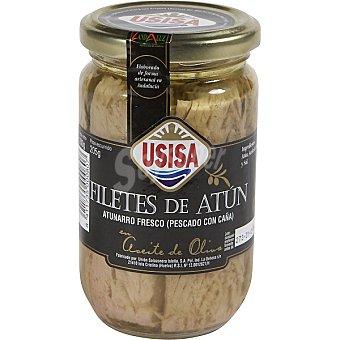 USISA filetes de atún fresco en aceite de oliva pescado con caña  tarro 205 g neto escurrido