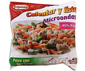 Fripozo Salteado de pavo con brotes de cebolla, judias verdes, zanahoria y berenjena Bolsa de 400 gramos