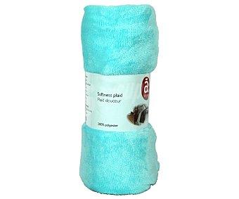 Actuel Manta de franela color azul celeste para sofá, 100% algodón, densidad de 220g/m², 130x170 centímetros 1 unidad