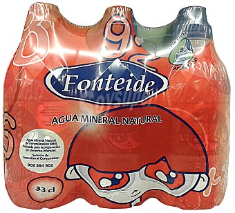FONTEIDE Agua mineral natural (tapon especial niños) Pack 6 x 330 cc - 1980 cc