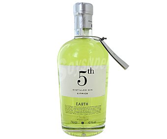 5 th EARTH Citrics Ginebra premium inglesa tipo London dry gin 5 th earth botella de 70 centilitros. Este tipo de ginebras utiliza botánicos como algas entre otros. Ideal para preparar tus gin tonic 70cl