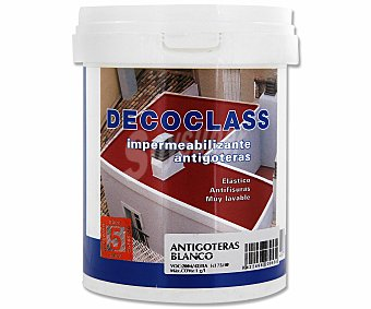 DECOCLASS Pintura Impermeable Antigoteras, Color Blanco 0,75 Litros