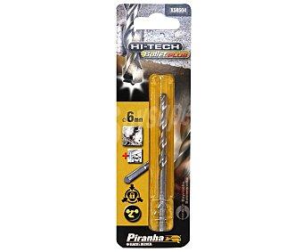 PIRANHA Broca Bullet Plus para Piedra, Ladrillo y Pvc de 6 Milímetros de Grosor 1 Unidad