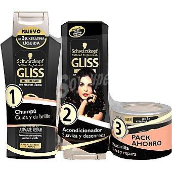 Gliss Champú Ultimate Repair con keratina líquida para cabello muy seco y dañado frasco 300 ml + acondicionador + mascarilla pack ahorro Frasco 300 ml