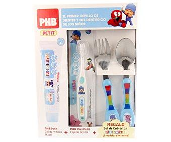 Phb Dentífrico infantil a partir de 2 años + cepillo de dientes + set de cubiertos Pocoyo 1 unidad