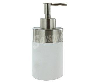 WENKO Dispensador de jabón/gel, modelo Creta fabricado en plástico blanco con recubrimiento Soft Touch combinado con acero inoxidable satinado 1 Unidad