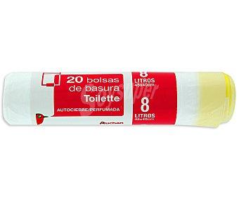 Auchan Bolsas de basura blanca, con autocierre especial baño capacidad 10 litros 20 uds