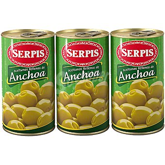 Serpis Aceitunas rellenas de anchoa Pack 3 latas 150 g