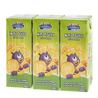 Carrefour Kids Zumo de piña y mango Pack 3x20 cl