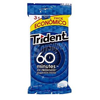 Trident Chicle 60 minutos menta Pack de 3x20 g