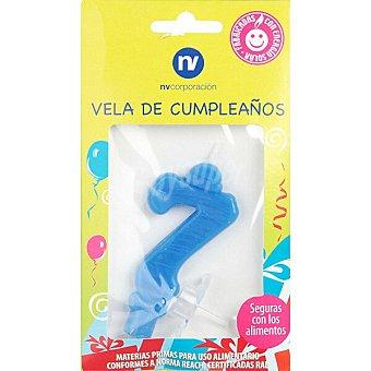NV. Vela de cumpleaños azul nº7 blister 1 unidad