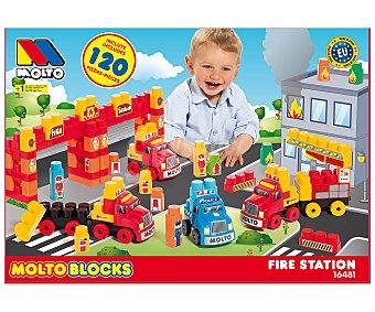 MOLTÓ Blocks Playset Estación de bomberos con camiones y 120 bloques de construcción MOLTÓ.