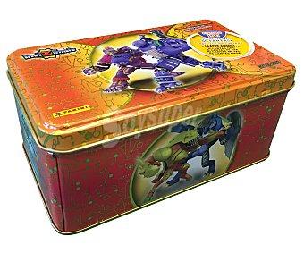 Panini Caja metálica naranja, Gold box, con 50 cartas, cartas especiales incluidas, del juego de cartas coleccionables Batalla de cazadores Invizimals 1 unidad