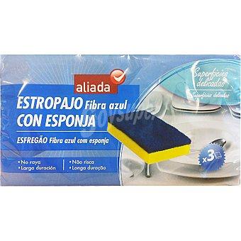 Aliada Estropajo fibra azul con esponja para superficies delicadas no raya Envase 3 unidades