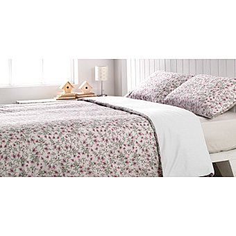 CASACTUAL Malva dúo de funda nórdica con florecillas en color malva para cama 135 cm