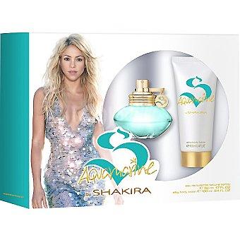 SHAKIRA Aquamarine eau de toilette natural femenina + locion corporal tubo 100 ml spray 50 ml