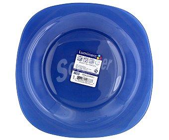 LUMINARC Plato de postre modelo Carina Colors de 18 centímetros, fabricado en vidrio templado de color azul y diseño cuadrado con bordes redondeados 1 Unidad
