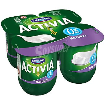 DANONE ACTIVIA Yogur natural desnatado 0% materia grasa pack 4 unidades 125 g