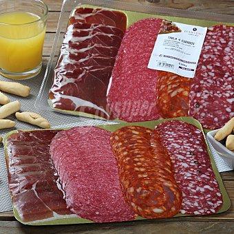 Abrilisto Tabla de 4 curados (jamón, salchichón, chorizo y salami) Bandeja de 300 g