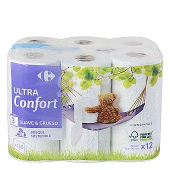 Carrefour Papel higiénico 3 capas ultra confort 12 rollos