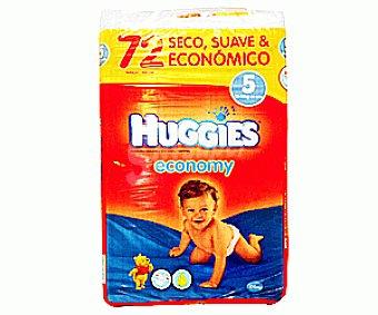 HUGGIES ECONOMY Pañales Jumbo Globo Talla 5 (13 a 18 Kilogramos) 72u