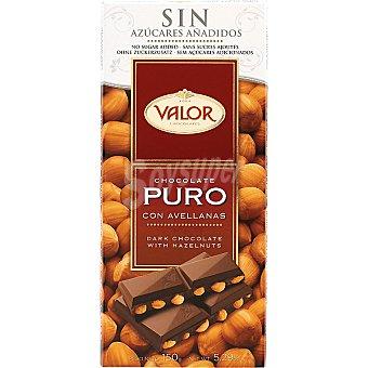 Valor Chocolate puro con avellanas 0% azúcares añadidos 250 g