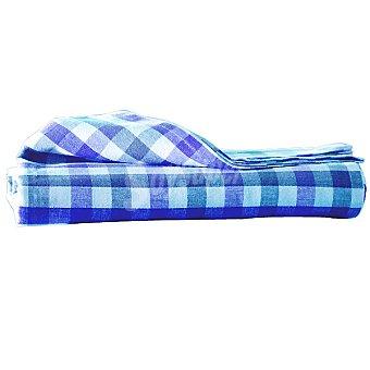 CASACTUAL Vichy Check mantel jacquard rectangular en color azul 150 x 200 cm