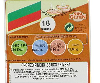 Campogrill Chorizo ibérico 1ª pincho sin gluten 450 Gramos