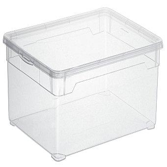 Carrefour Home Caja con tapa de Plástico Basic 10 Litros - Transparente 1 ud
