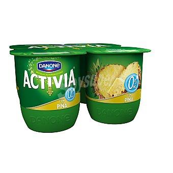 DANONE ACTIVIA Yogur desnatado con piña 0% materia grasa pack 4 unidades 125 g