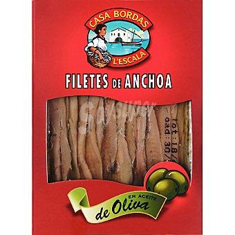 CASA BORDAS Filetes de anchoa en aceite de oliva Bandeja 60 g neto escurrido