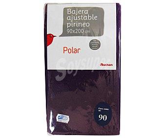 AUCHAN Sábana bajera serie Pirineo, 130 gramos/m², color morado, 90 centímetros 1 Unidad