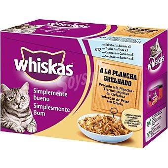 Whiskas Comida para gatos Simplemente Bueno pescados a la plancha en trocitos con gelatina para gato  12 bolsas de 85 g
