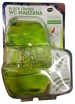 Relevi Block líquido WC completo + un recambio aroma manzana Pack 2 x 55 cc + soporte