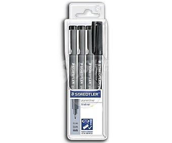 Staedtler Lote de 3 rotuladores calibrados, con trazo de 0.2, 0.4 y 0.8 milímetros con regalo de un rotulador permanente de tinta de color negra 1 unidad
