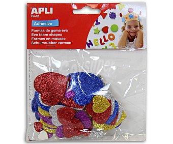 APLI Bolsa de 52 corazones adhesivos de goma eva con purpurina y de diferentes colores 1 unidad
