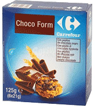 Carrefour Barritas de cereales con chocolate Pack de 6x21g