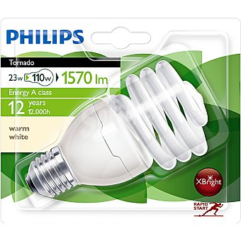 Philips (110 W) lámpara ahorro blanco cálido casquillo E27 (grueso) 230-240 V Tornado 23 W 1 unidad