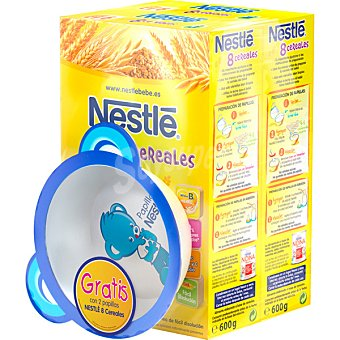 Nestlé 8 Cereales papilla instantánea con regalo de un bol 1,2 kg pack 2 de 600 g