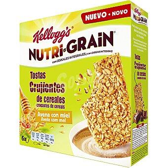 Kellogg's Tostas crujientes Nutri-grain de cereales integrales avena con miel 6 unidades caja 240 g 6 unidades