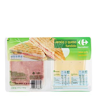 Carrefour Jamón y queso fundido 112 g. + 120 g. 1 ud