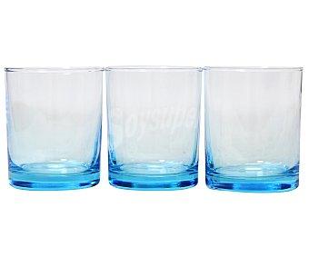 WORKSHOP Lote de 3 vasos modelo Instambul con capacidad de 25 centílitros y fabricados en vidrio de color azul turquesa degradado Pack de 3