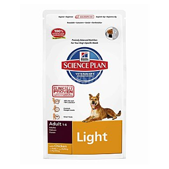 HILL'S SCIENCE PLAN ADULT LIGHT Alimento especial para perros adultos con pollo y menos grasa para mantener el peso ideal bolsa 12 kg Bolsa 12 kg