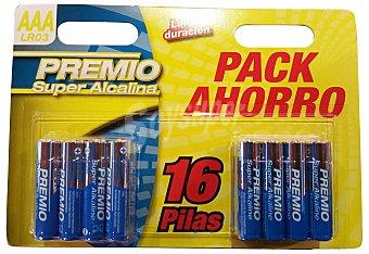 PREMIO PILA SUPER ALCALINA AAA LR03 Paquete 16 unidades