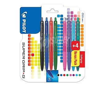 "PILOT Super + 4 bolígrafos gratis super G 8 colores, pilot grip ""G"" Pack de 4"