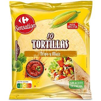 Sensation Tortillas de trigo y maíz Carrefour sin aceite de palma 10 ud
