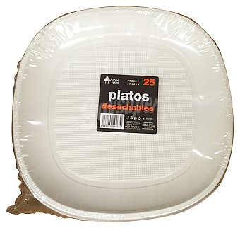 Bosque Verde Plato desechable plastico multiusos 215 mm blanco 25 u