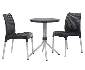 KETER Set de mobiliario de balcón modelo Chelsea, compuesto por 2 sillas y 1 mesa redonda de 60 centímetros, todo ello fabricado en resina y aluminio 1 unidad