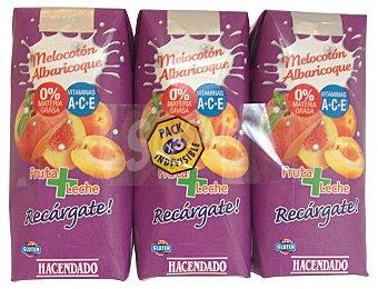 Hacendado Frutas+leche melocoton albaricoque 3 x 330 cc